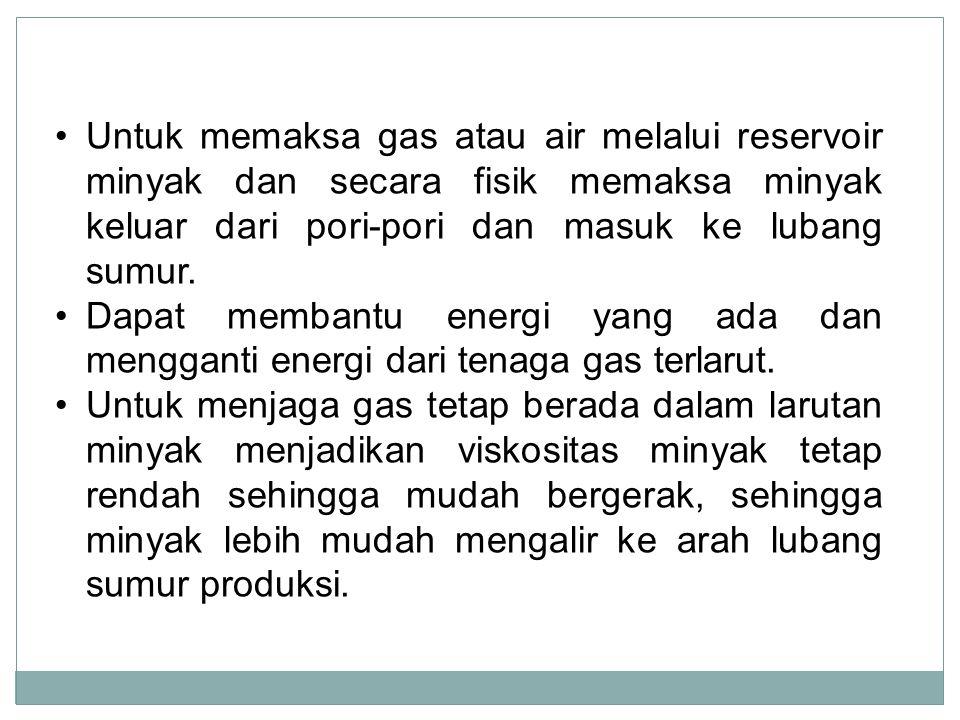 Untuk memaksa gas atau air melalui reservoir minyak dan secara fisik memaksa minyak keluar dari pori-pori dan masuk ke lubang sumur. Dapat membantu en