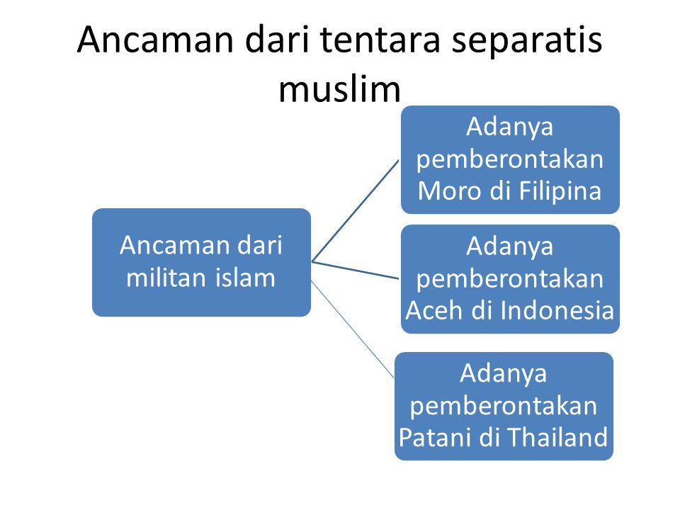 Ancaman dari tentara separatis muslim Ancaman dari militan islam Adanya pemberontakan Moro di Filipina Adanya pemberontakan Aceh di Indonesia Adanya pemberontakan Patani di Thailand
