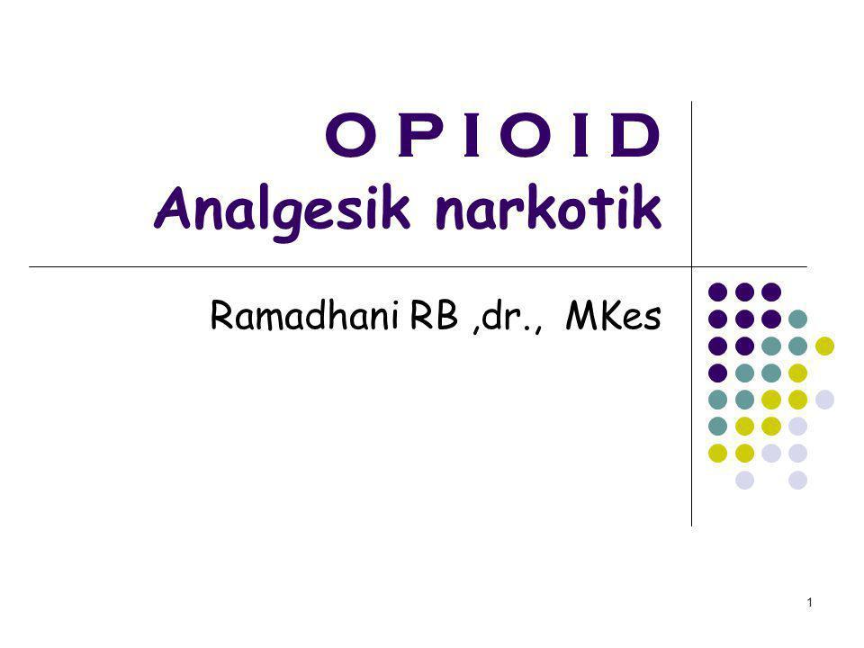 O P I O I D Analgesik narkotik Ramadhani RB,dr., MKes 1