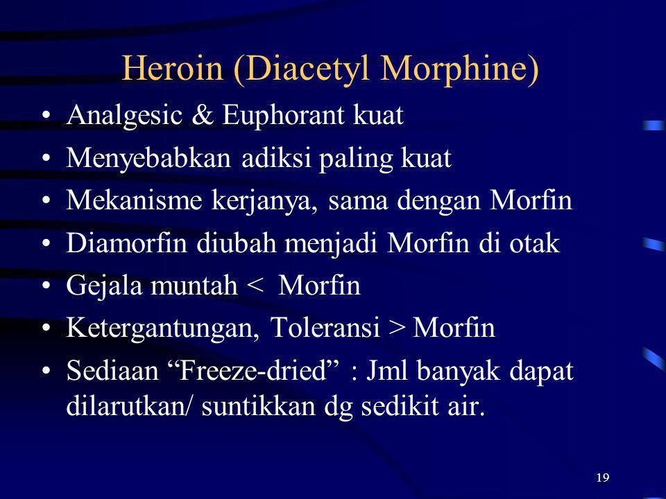 19 Heroin (Diacetyl Morphine) Analgesic & Euphorant kuat Menyebabkan adiksi paling kuat Mekanisme kerjanya, sama dengan Morfin Diamorfin diubah menjad