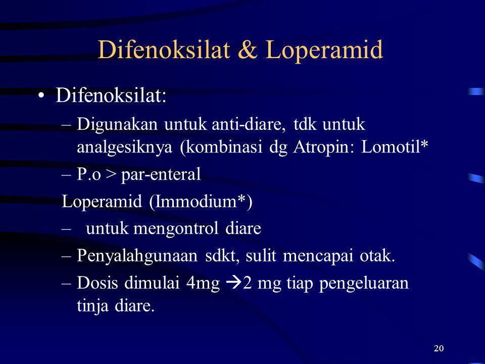 20 Difenoksilat & Loperamid Difenoksilat: –Digunakan untuk anti-diare, tdk untuk analgesiknya (kombinasi dg Atropin: Lomotil* –P.o > par-enteral Loper