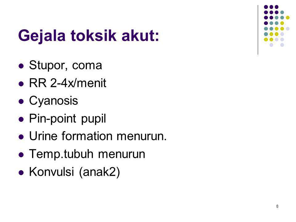 Gejala toksik akut: Stupor, coma RR 2-4x/menit Cyanosis Pin-point pupil Urine formation menurun. Temp.tubuh menurun Konvulsi (anak2) 8