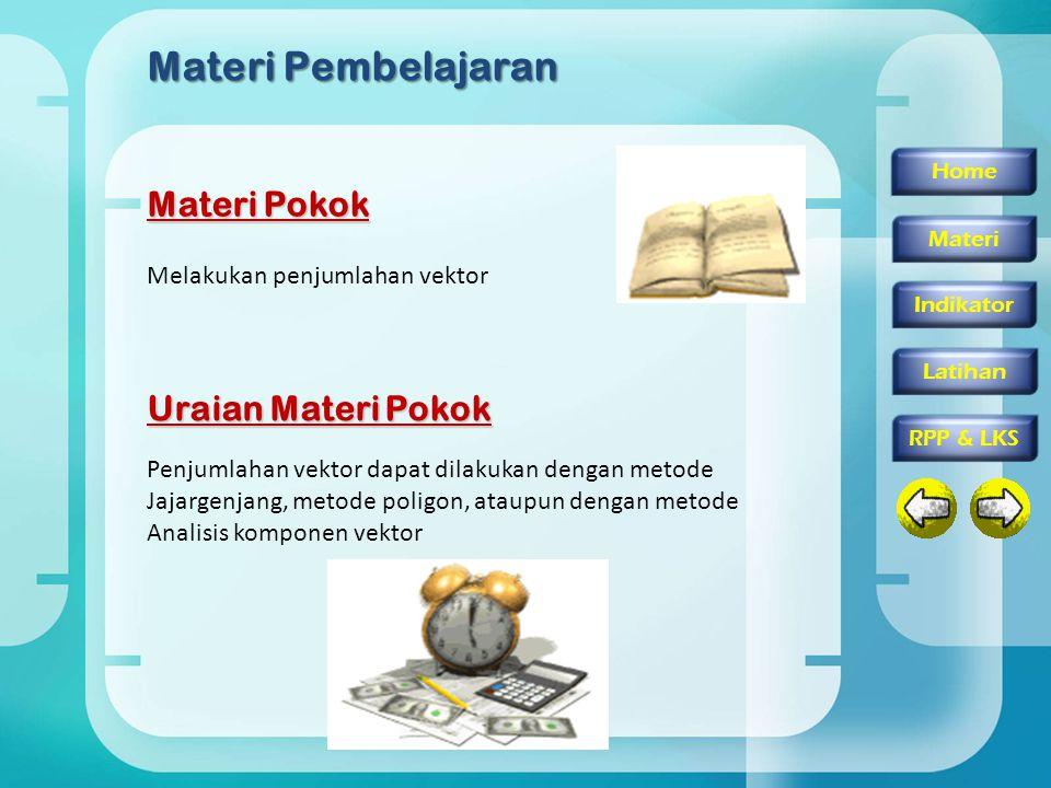 Materi Pembelajaran Materi Pokok Uraian Materi Pokok Penjumlahan vektor dapat dilakukan dengan metode Jajargenjang, metode poligon, ataupun dengan metode Analisis komponen vektor Home Materi Indikator RPP & LKS Latihan