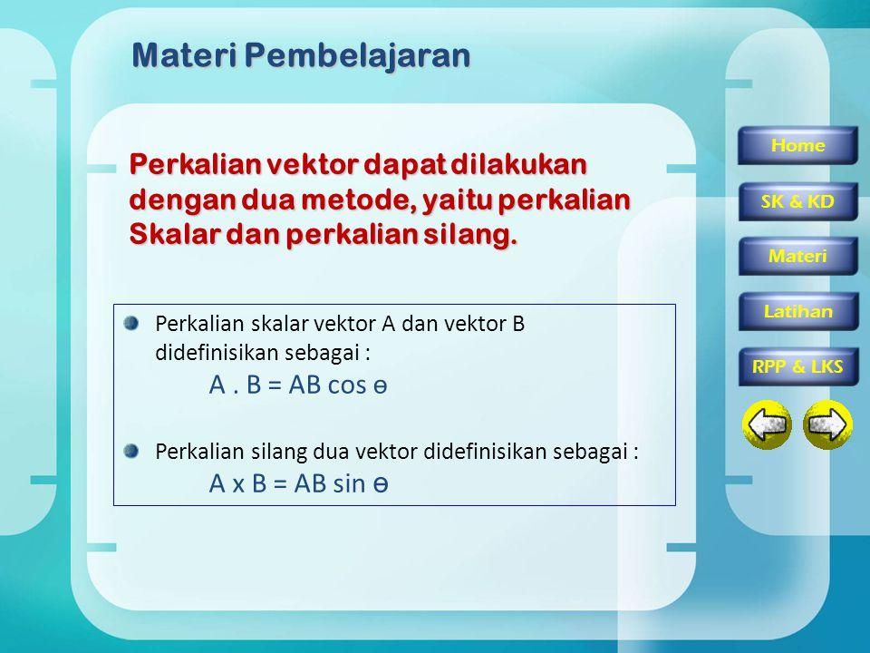 Home SK & KD Materi RPP & LKS Latihan Materi Pembelajaran Perkalian vektor dapat dilakukan dengan dua metode, yaitu perkalian Skalar dan perkalian silang.