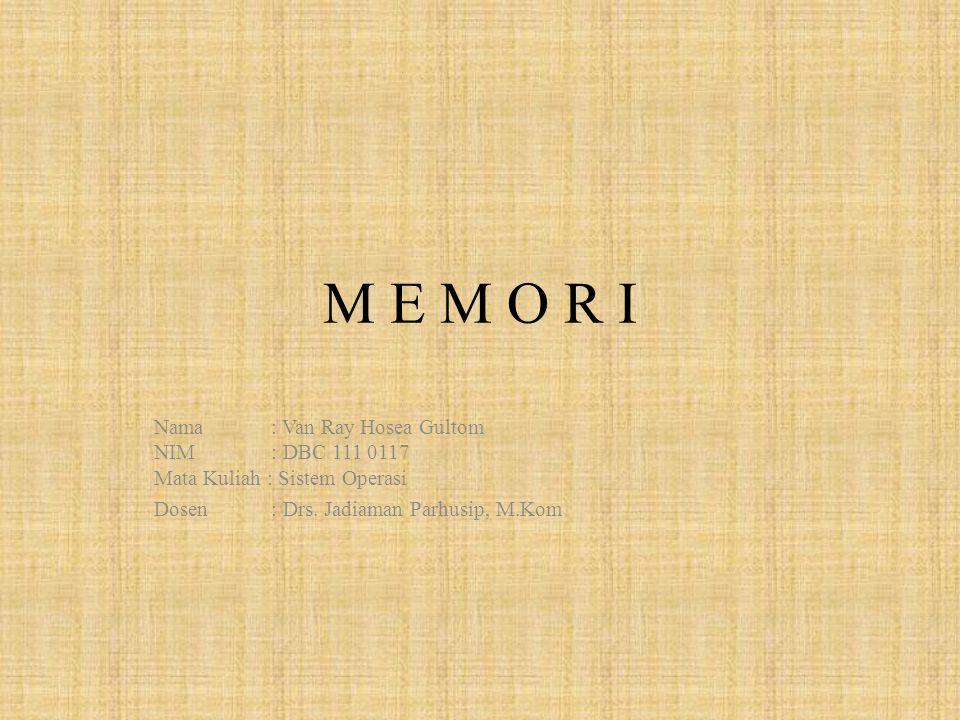 DEFENISI MEMORI (KOMPUTER) Memori (atau lebih tepat disebut memori fisik) merupakan istilah generik yang merujuk pada media penyimpanan data sementara pada komputer.