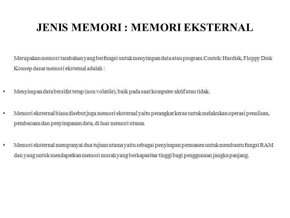 JENIS MEMORI : MEMORI EKSTERNAL Merupakan memori tambahan yang berfungsi untuk menyimpan data atau program.Contoh: Hardisk, Floppy Disk Konsep dasar m