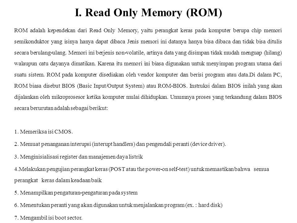JENIS ROM Sampai sekarang dikenal beberapa jenis ROM yang pernah beredar dan terpasang pada komputer, antara lain PROM, EPROM dan EEPROM a.) PROM (Progammable Read-Only-Memory) Jika isi ROM ditentukan oleh vendor, PROM dijual dalam keadaan kosong dan kemudian dapat diisi dengan program oleh pemakai.