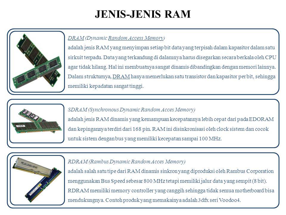 JENIS-JENIS RAM DRAM (Dynamic Random Access Memory) adalah jenis RAM yang menyimpan setiap bit data yang terpisah dalam kapasitor dalam satu sirkuit t