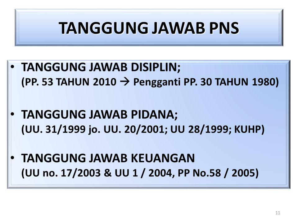 11 TANGGUNG JAWAB PNS TANGGUNG JAWAB DISIPLIN; (PP. 53 TAHUN 2010  Pengganti PP. 30 TAHUN 1980) TANGGUNG JAWAB PIDANA; (UU. 31/1999 jo. UU. 20/2001;