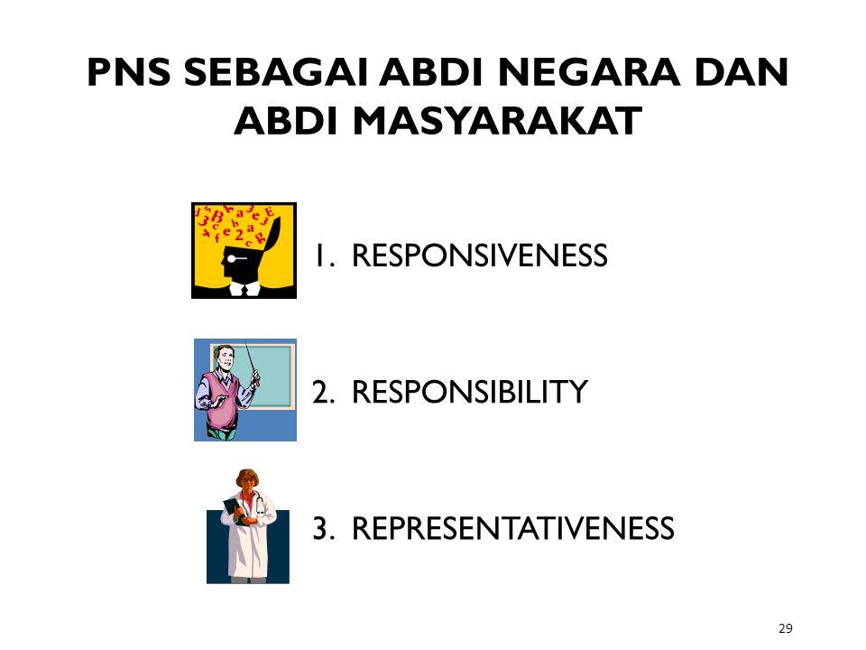 29 PNS SEBAGAI ABDI NEGARA DAN ABDI MASYARAKAT 1. RESPONSIVENESS 2. RESPONSIBILITY 3. REPRESENTATIVENESS