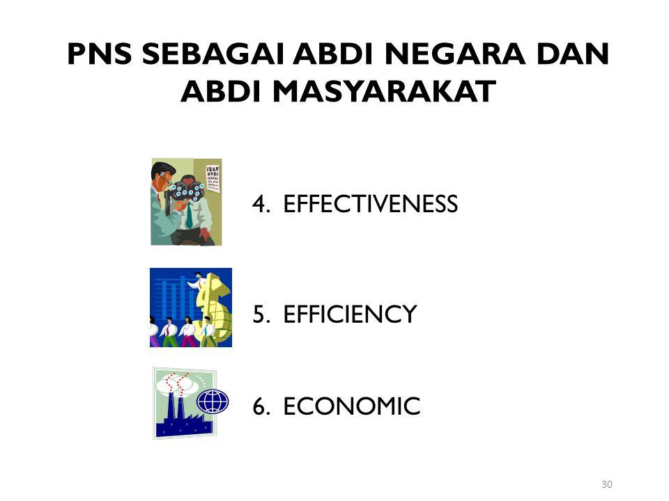 30 PNS SEBAGAI ABDI NEGARA DAN ABDI MASYARAKAT 4. EFFECTIVENESS 5. EFFICIENCY 6. ECONOMIC