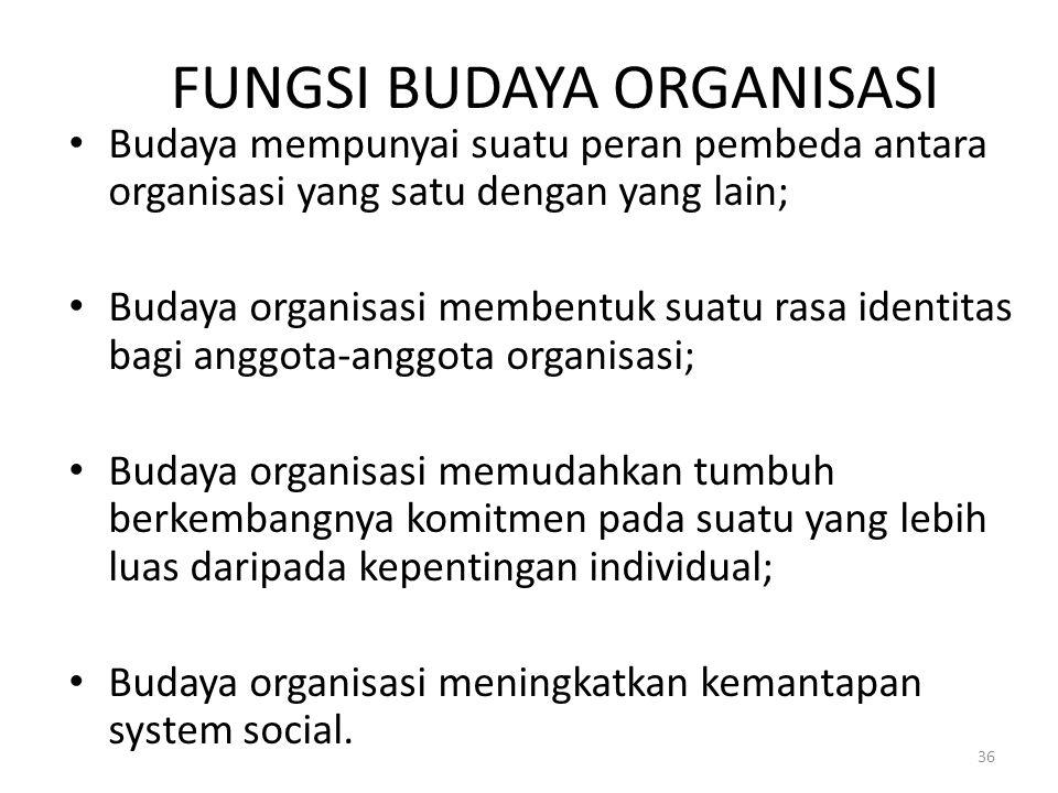 FUNGSI BUDAYA ORGANISASI Budaya mempunyai suatu peran pembeda antara organisasi yang satu dengan yang lain; Budaya organisasi membentuk suatu rasa ide
