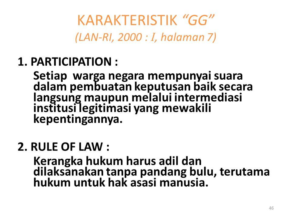 1. PARTICIPATION : Setiap warga negara mempunyai suara dalam pembuatan keputusan baik secara langsung maupun melalui intermediasi institusi legitimasi