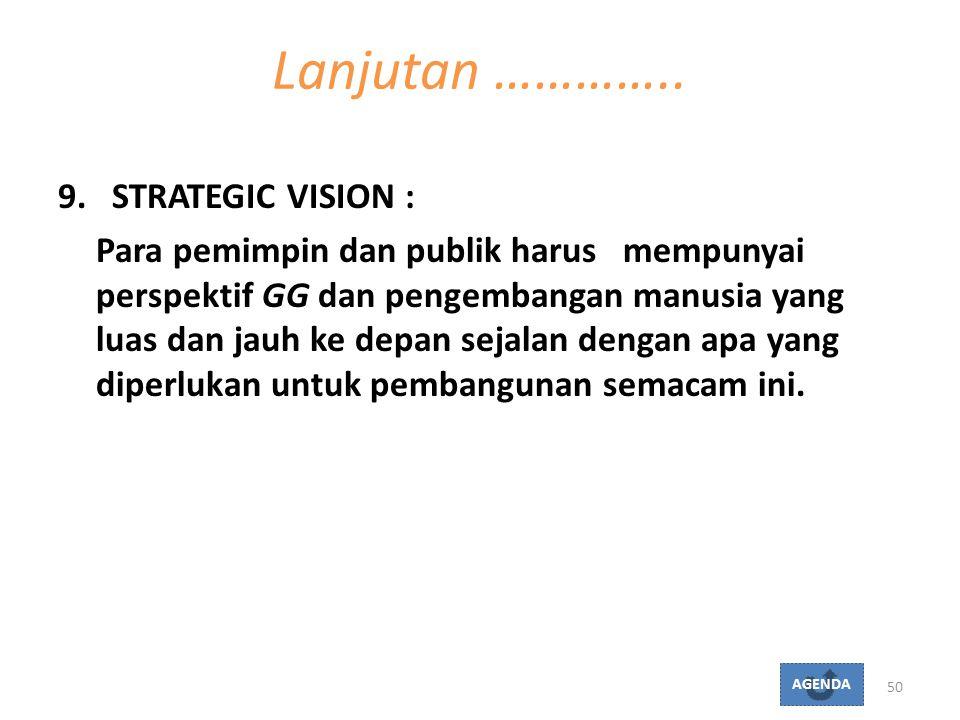 9.STRATEGIC VISION : Para pemimpin dan publik harus mempunyai perspektif GG dan pengembangan manusia yang luas dan jauh ke depan sejalan dengan apa ya