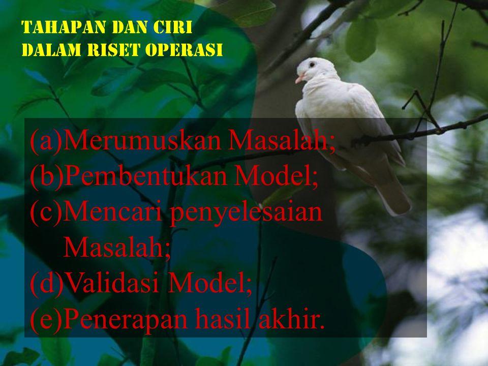 (a)Merumuskan Masalah; (b)Pembentukan Model; (c)Mencari penyelesaian Masalah; (d)Validasi Model; (e)Penerapan hasil akhir.