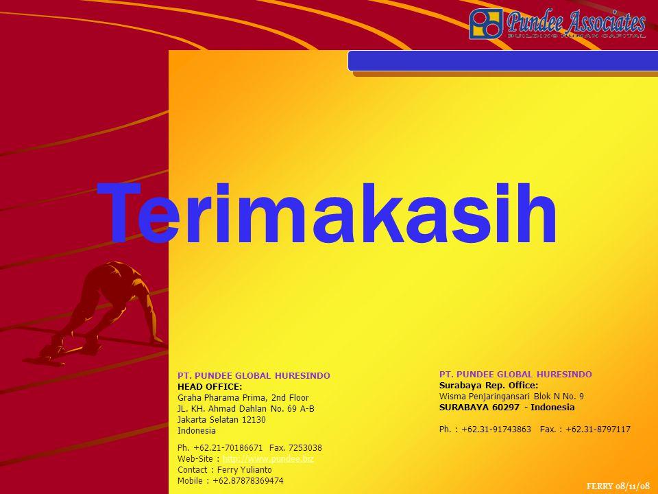 Terimakasih PT.PUNDEE GLOBAL HURESINDO HEAD OFFICE: Graha Pharama Prima, 2nd Floor JL.