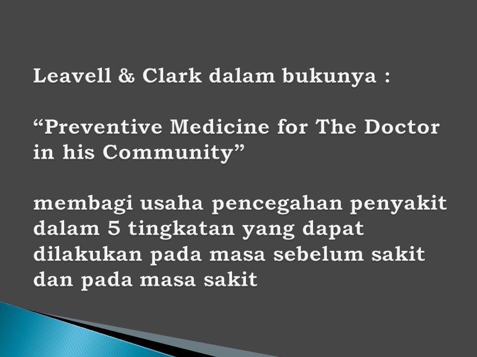  Masa sebelum sakit : a.mempertinggi nilai kesehatan (Health Promotion) b.