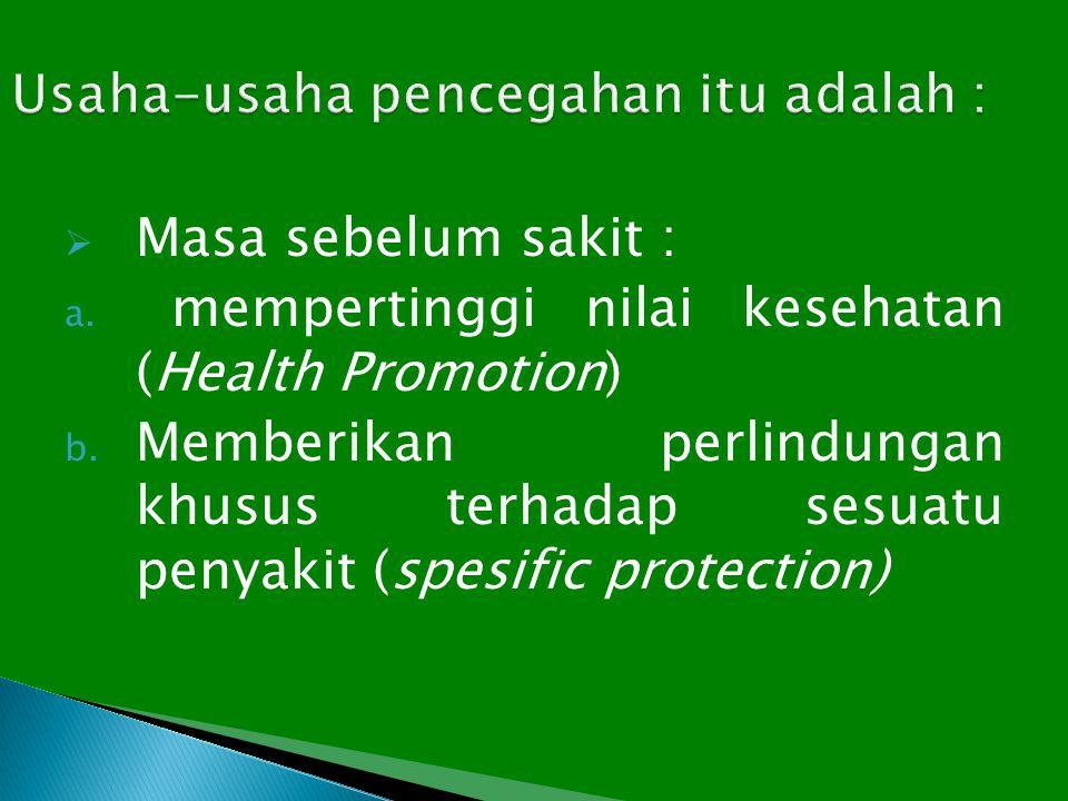  Masa sebelum sakit : a. mempertinggi nilai kesehatan (Health Promotion) b. Memberikan perlindungan khusus terhadap sesuatu penyakit (spesific protec