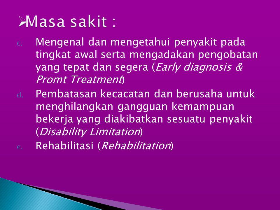 c. Mengenal dan mengetahui penyakit pada tingkat awal serta mengadakan pengobatan yang tepat dan segera (Early diagnosis & Promt Treatment) d. Pembata