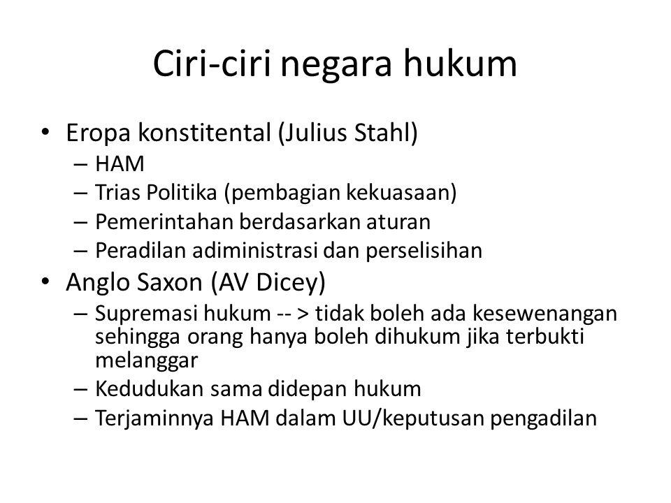 Ciri-ciri negara hukum Eropa konstitental (Julius Stahl) – HAM – Trias Politika (pembagian kekuasaan) – Pemerintahan berdasarkan aturan – Peradilan ad
