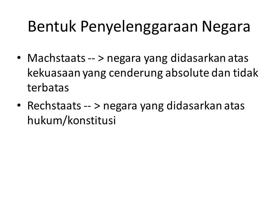 Prinsip Negara Hukum Indonesia menurut UUD 1945 Norma hukum bersumber pada Pancasila dan adanya hirearki jenjang norma hukum (stufenbouw theory) UUD 1945 memuat aturan-aturan pokok dimana aturan lebih detail dibuat oleh organ negara sesuai dengan dinamika pembangan dan perkembangan kebutuhan masyarakat Rakyat berdaulat Kesamaan kedudukan dalam hukum dan pemerintahan Adanya organ pembentuk Undang-Undang (Presiden dan DPR) Sistem pemerintahan presidensiil Kekuasaan kehakiman yang bebas dari kekuasaan lain Hukum bertujuan sebagaimana tujuan negara dalam aline IV UUD 1945 Adanya jaminan akan HAM.