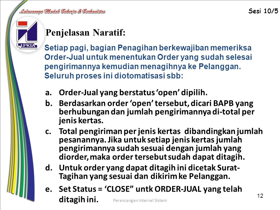 Perancangan Internal Sistem 12 a.Order-Jual yang berstatus 'open' dipilih.