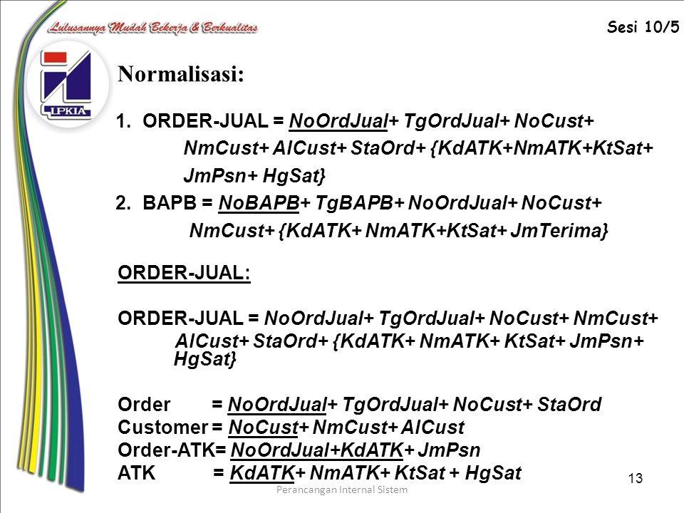 Perancangan Internal Sistem 13 Normalisasi: ORDER-JUAL: ORDER-JUAL = NoOrdJual+ TgOrdJual+ NoCust+ NmCust+ AlCust+ StaOrd+ {KdATK+ NmATK+ KtSat+ JmPsn+ HgSat} Order = NoOrdJual+ TgOrdJual+ NoCust+ StaOrd Customer = NoCust+ NmCust+ AlCust Order-ATK= NoOrdJual+KdATK+ JmPsn ATK = KdATK+ NmATK+ KtSat + HgSat 1.ORDER-JUAL = NoOrdJual+ TgOrdJual+ NoCust+ NmCust+ AlCust+ StaOrd+ {KdATK+NmATK+KtSat+ JmPsn+ HgSat} 2.BAPB = NoBAPB+ TgBAPB+ NoOrdJual+ NoCust+ NmCust+ {KdATK+ NmATK+KtSat+ JmTerima} Sesi 10/5