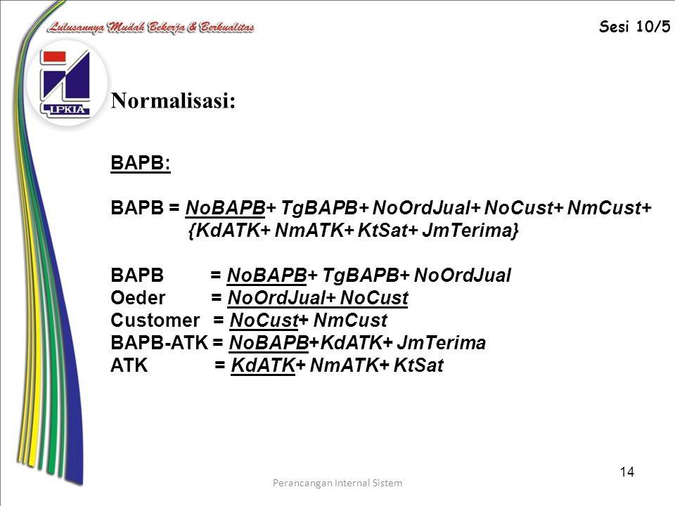 Perancangan Internal Sistem 14 BAPB: BAPB = NoBAPB+ TgBAPB+ NoOrdJual+ NoCust+ NmCust+ {KdATK+ NmATK+ KtSat+ JmTerima} BAPB = NoBAPB+ TgBAPB+ NoOrdJual Oeder = NoOrdJual+ NoCust Customer = NoCust+ NmCust BAPB-ATK = NoBAPB+KdATK+ JmTerima ATK = KdATK+ NmATK+ KtSat Normalisasi: Sesi 10/5