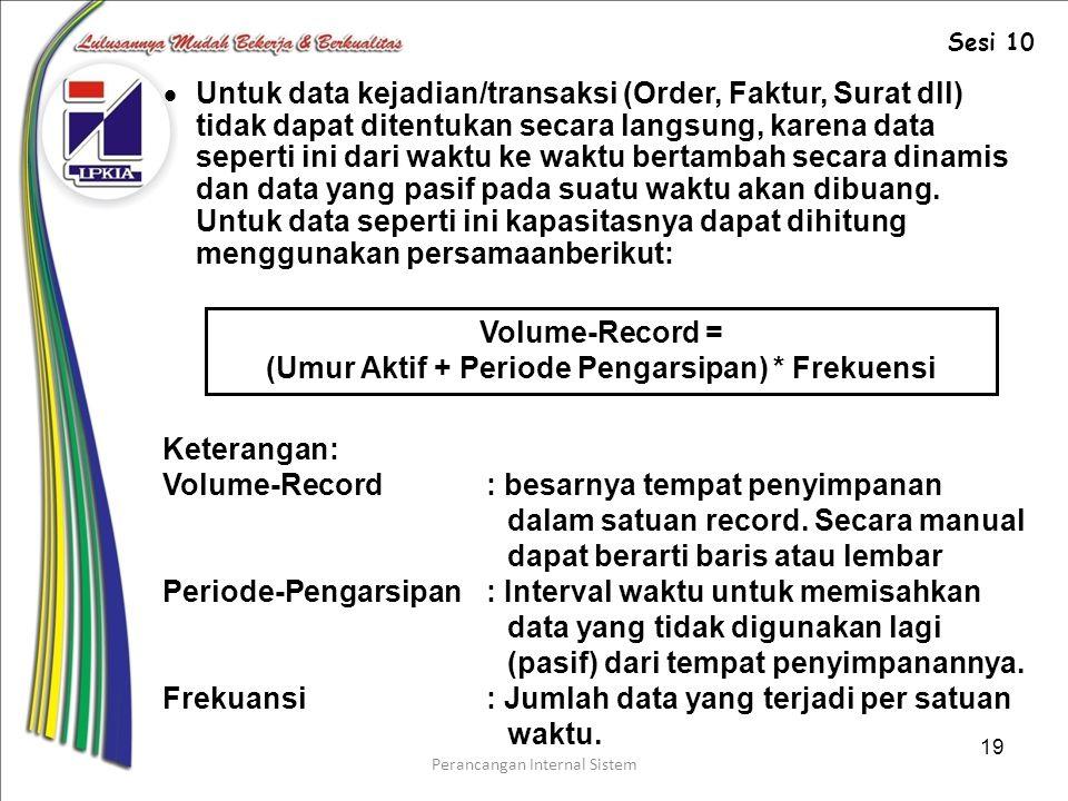 Perancangan Internal Sistem 19  Untuk data kejadian/transaksi (Order, Faktur, Surat dll) tidak dapat ditentukan secara langsung, karena data seperti ini dari waktu ke waktu bertambah secara dinamis dan data yang pasif pada suatu waktu akan dibuang.
