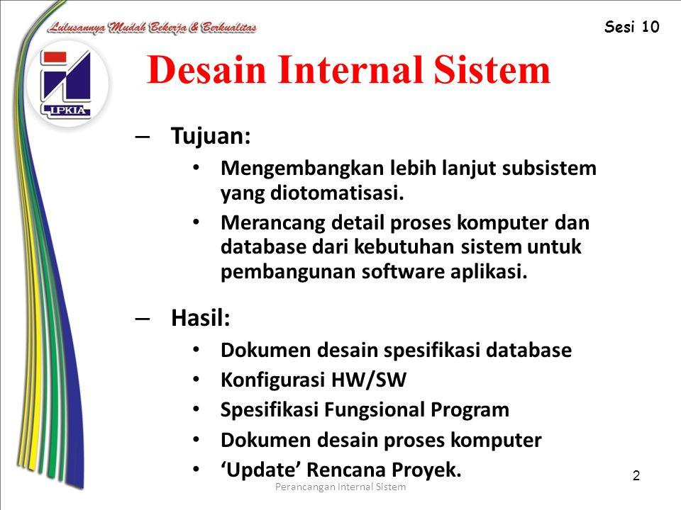Perancangan Internal Sistem 2 Desain Internal Sistem – Tujuan: Mengembangkan lebih lanjut subsistem yang diotomatisasi.