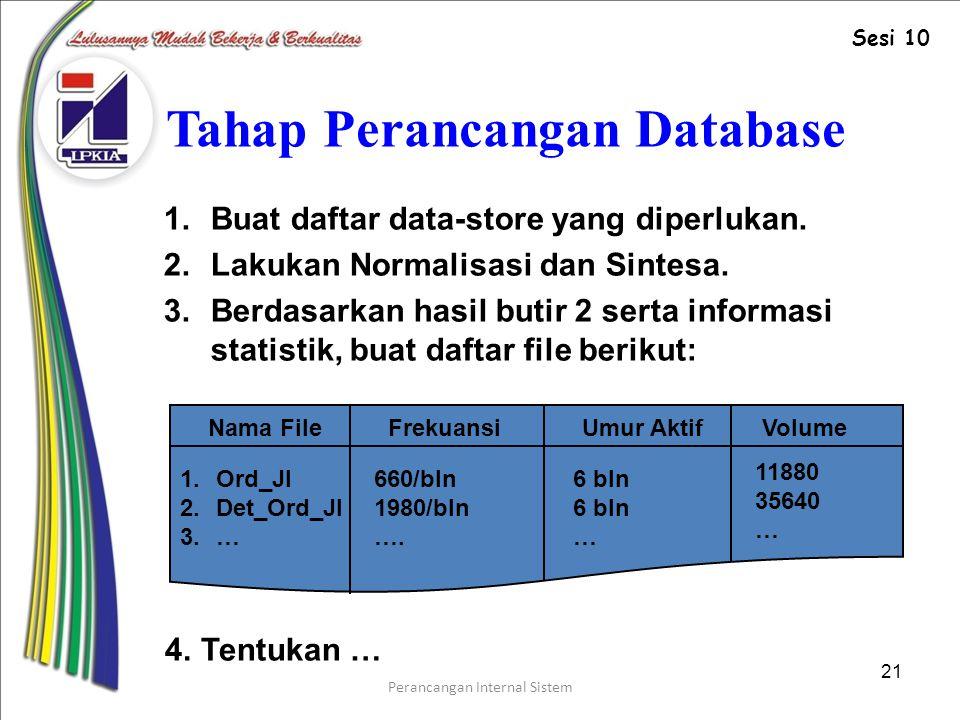 Perancangan Internal Sistem 21 Tahap Perancangan Database 1.Buat daftar data-store yang diperlukan.