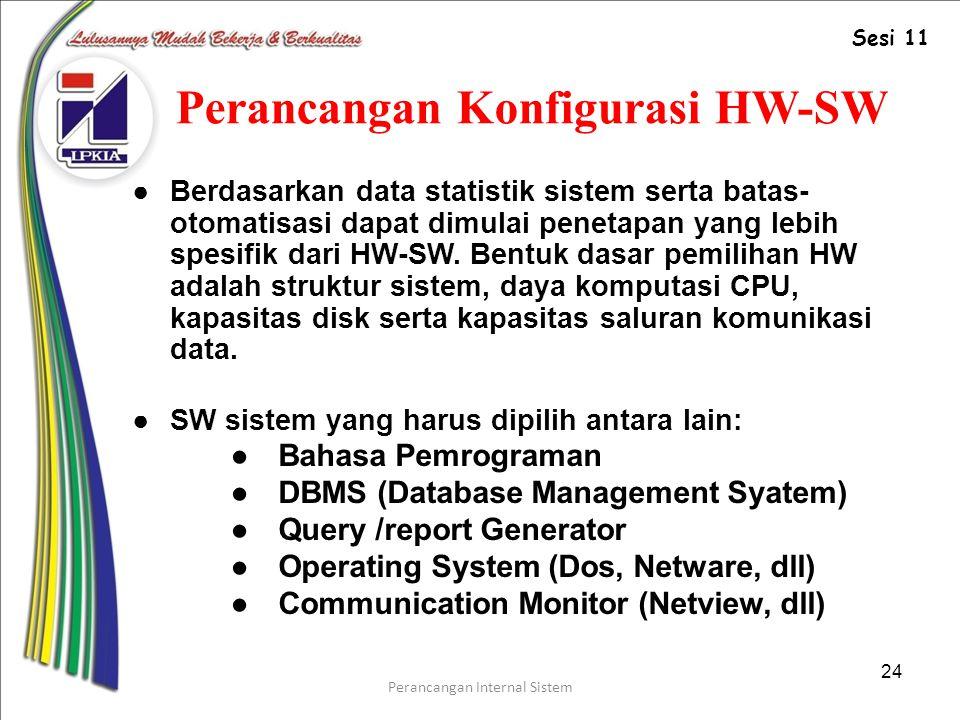 Perancangan Internal Sistem 24 Perancangan Konfigurasi HW-SW ●Berdasarkan data statistik sistem serta batas- otomatisasi dapat dimulai penetapan yang lebih spesifik dari HW-SW.