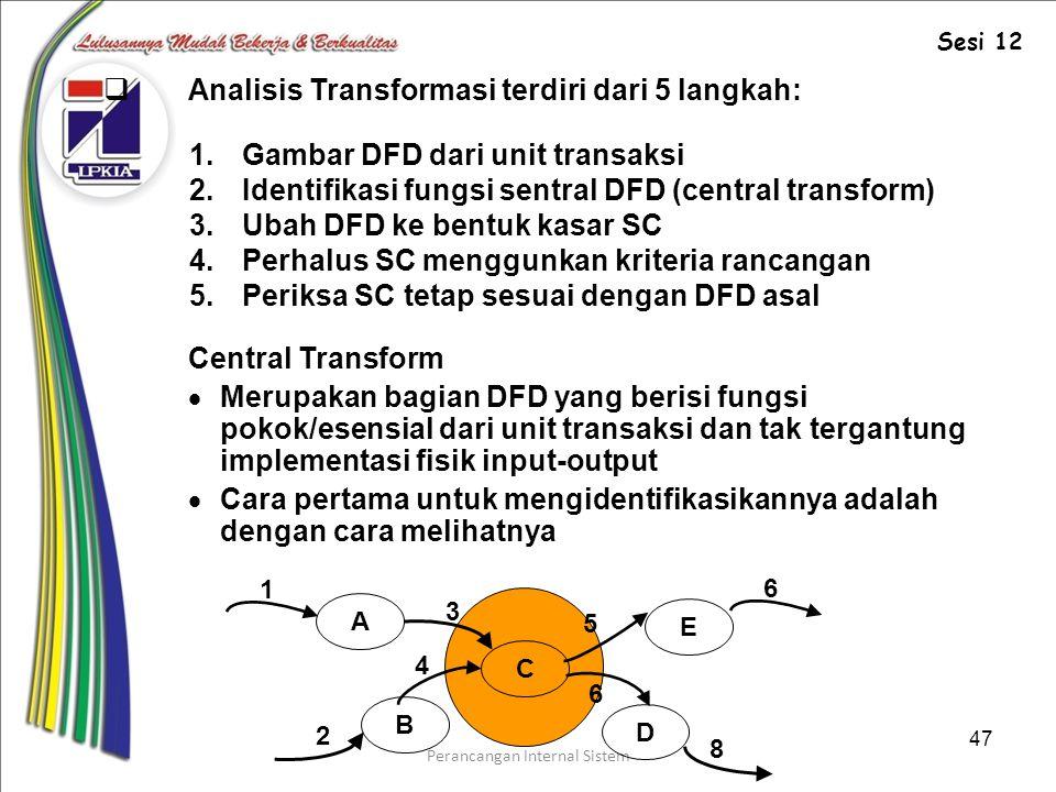 Perancangan Internal Sistem 47  Analisis Transformasi terdiri dari 5 langkah: 1.Gambar DFD dari unit transaksi 2.Identifikasi fungsi sentral DFD (central transform) 3.Ubah DFD ke bentuk kasar SC 4.Perhalus SC menggunkan kriteria rancangan 5.Periksa SC tetap sesuai dengan DFD asal Central Transform  Merupakan bagian DFD yang berisi fungsi pokok/esensial dari unit transaksi dan tak tergantung implementasi fisik input-output  Cara pertama untuk mengidentifikasikannya adalah dengan cara melihatnya A B E D C 2 3 4 5 1 6 6 8 Sesi 12