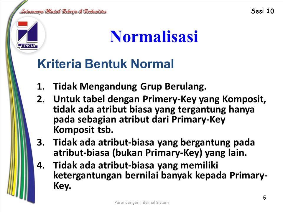 Perancangan Internal Sistem 5 Normalisasi 1.Tidak Mengandung Grup Berulang.