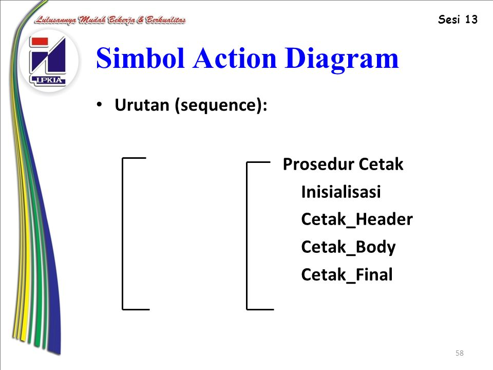 58 Simbol Action Diagram Urutan (sequence): Prosedur Cetak Inisialisasi Cetak_Header Cetak_Body Cetak_Final Sesi 13