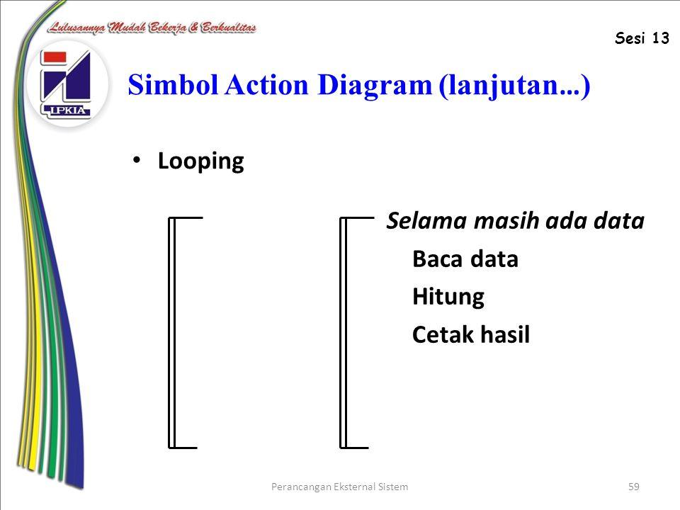 Perancangan Eksternal Sistem59 Simbol Action Diagram (lanjutan … ) Looping Selama masih ada data Baca data Hitung Cetak hasil Sesi 13