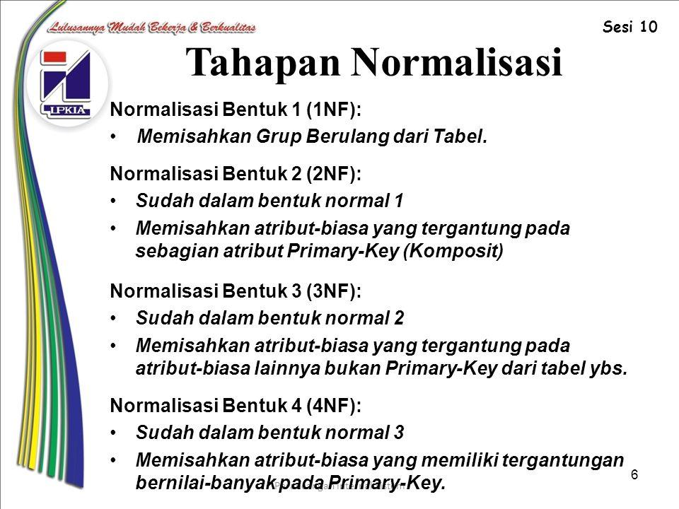Perancangan Internal Sistem 6 Tahapan Normalisasi Normalisasi Bentuk 1 (1NF): Memisahkan Grup Berulang dari Tabel.