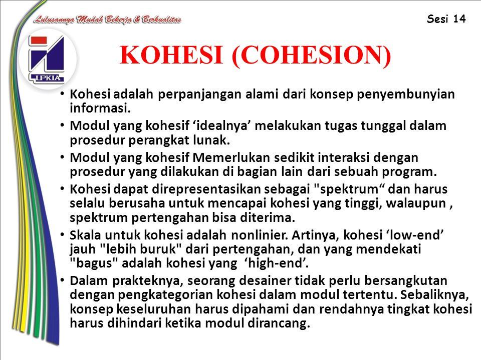 KOHESI (COHESION) Kohesi adalah perpanjangan alami dari konsep penyembunyian informasi.