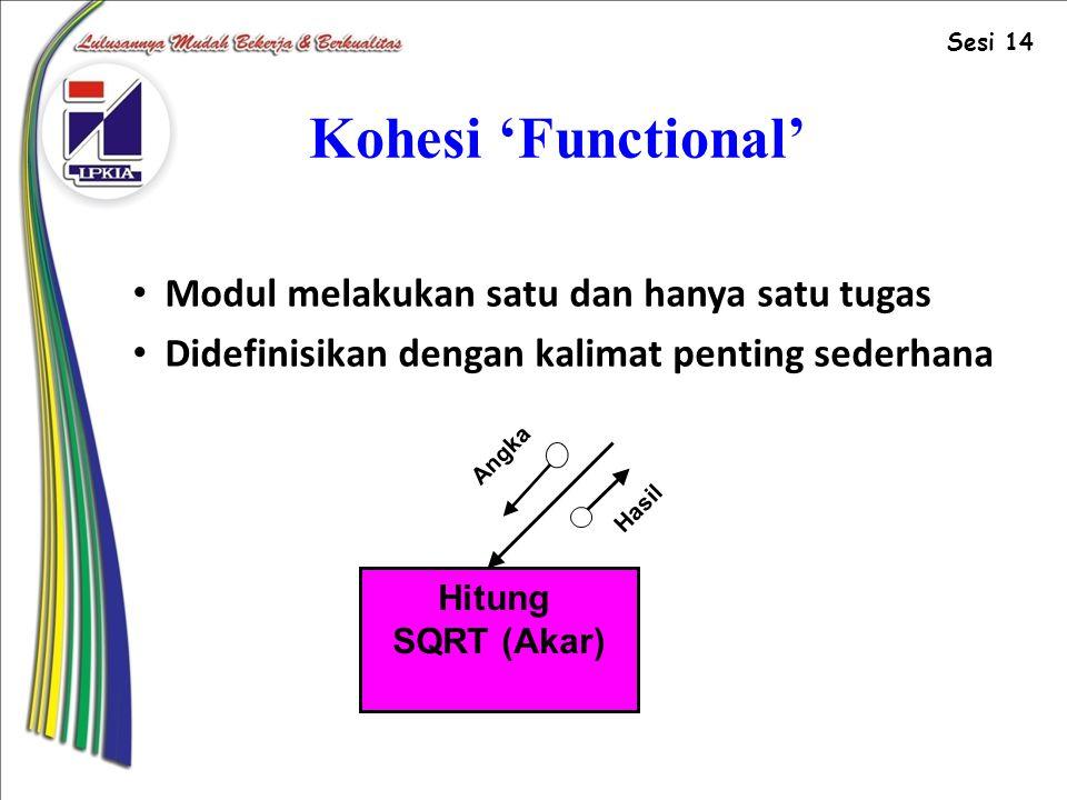 Kohesi 'Functional' Modul melakukan satu dan hanya satu tugas Didefinisikan dengan kalimat penting sederhana Hitung SQRT (Akar) Angka Hasil Sesi 14