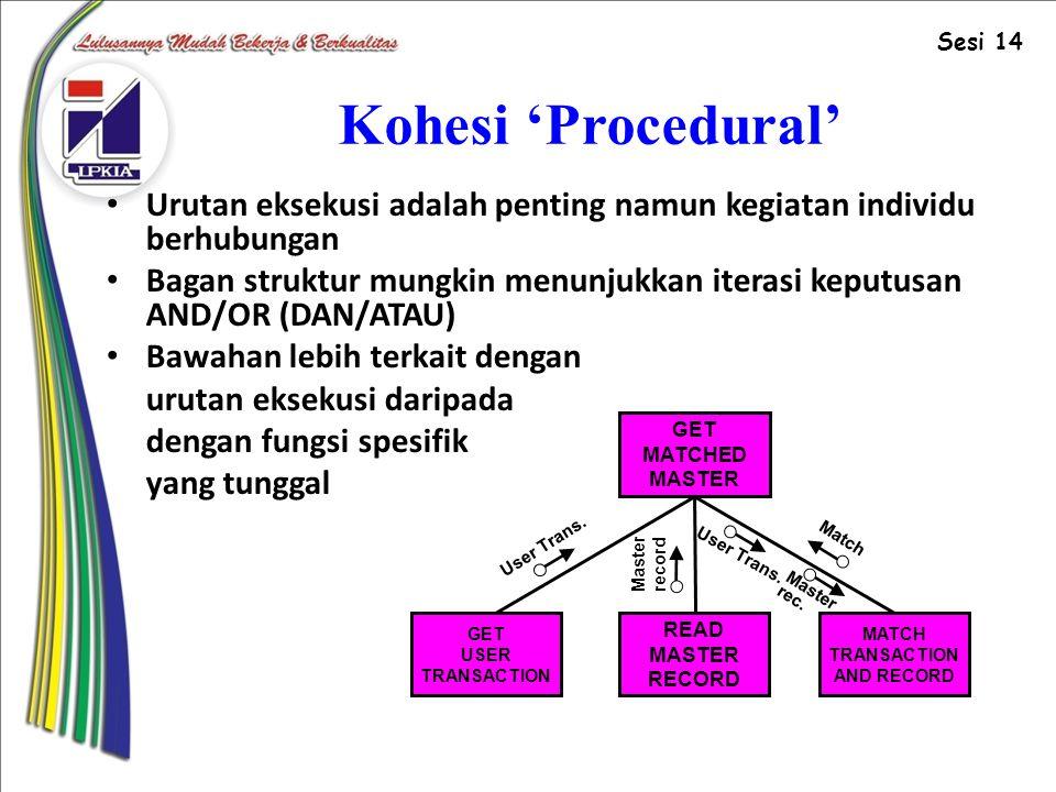 Kohesi 'Procedural' Urutan eksekusi adalah penting namun kegiatan individu berhubungan Bagan struktur mungkin menunjukkan iterasi keputusan AND/OR (DAN/ATAU) Bawahan lebih terkait dengan urutan eksekusi daripada dengan fungsi spesifik yang tunggal GET MATCHED MASTER READ MASTER RECORD GET USER TRANSACTION MATCH TRANSACTION AND RECORD User Trans.