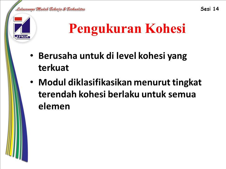 Pengukuran Kohesi Berusaha untuk di level kohesi yang terkuat Modul diklasifikasikan menurut tingkat terendah kohesi berlaku untuk semua elemen Sesi 14
