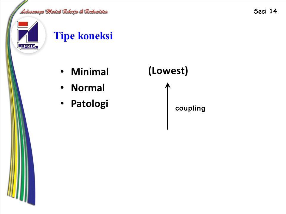Tipe koneksi Minimal Normal Patologi (Lowest) coupling Sesi 14