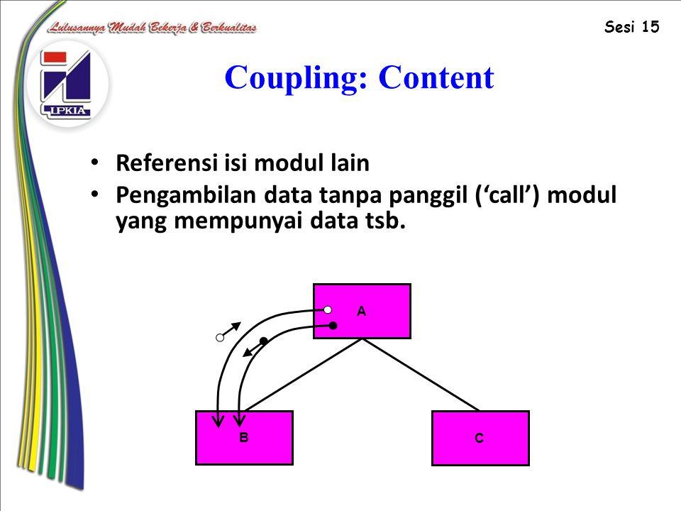 Coupling: Content Referensi isi modul lain Pengambilan data tanpa panggil ('call') modul yang mempunyai data tsb.