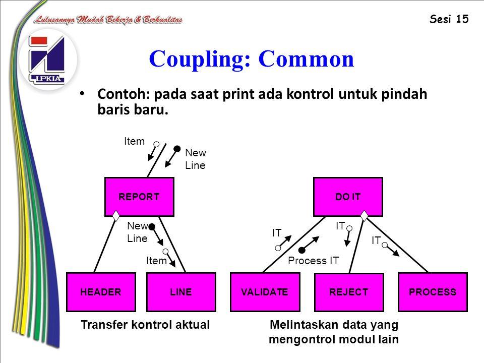 Coupling: Common Contoh: pada saat print ada kontrol untuk pindah baris baru.