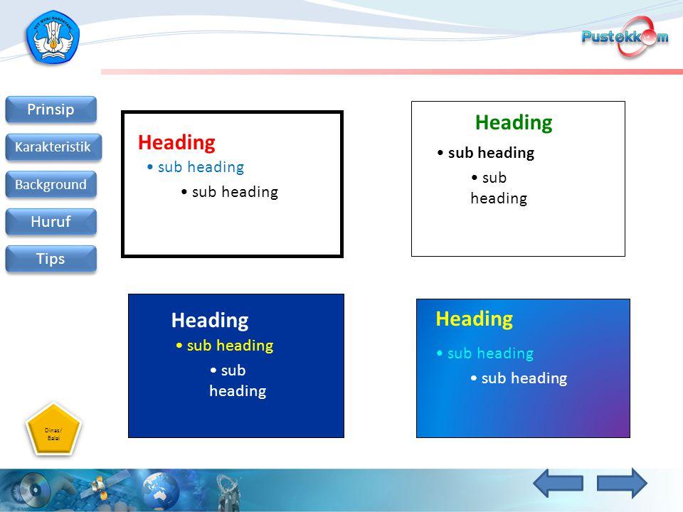 Dinas/ Balai Dinas/ Balai Prinsip Karakteristik Background Huruf Tips Heading sub heading Heading sub heading Heading sub heading Heading sub heading