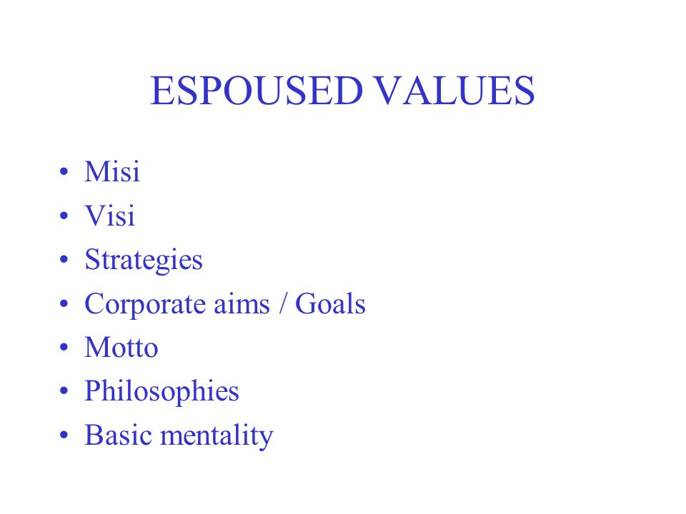 ESPOUSED VALUES Misi Visi Strategies Corporate aims / Goals Motto Philosophies Basic mentality
