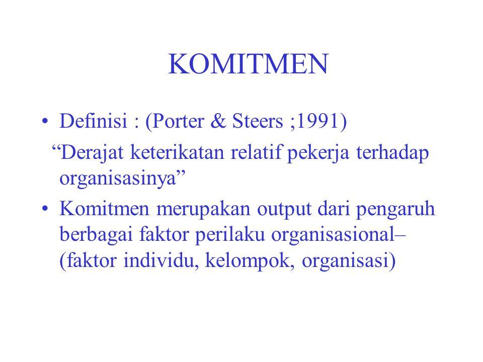 """KOMITMEN Definisi : (Porter & Steers ;1991) """"Derajat keterikatan relatif pekerja terhadap organisasinya"""" Komitmen merupakan output dari pengaruh berba"""