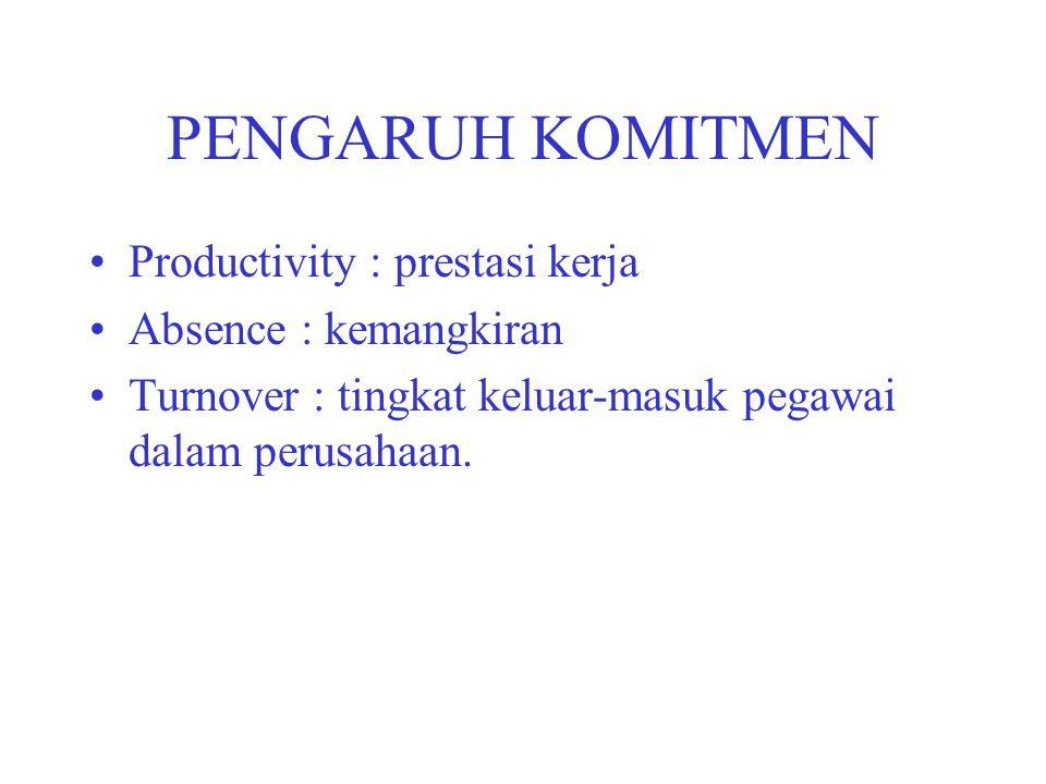 PENGARUH KOMITMEN Productivity : prestasi kerja Absence : kemangkiran Turnover : tingkat keluar-masuk pegawai dalam perusahaan.