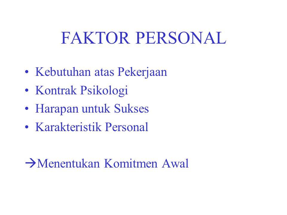 FAKTOR PERSONAL Kebutuhan atas Pekerjaan Kontrak Psikologi Harapan untuk Sukses Karakteristik Personal  Menentukan Komitmen Awal
