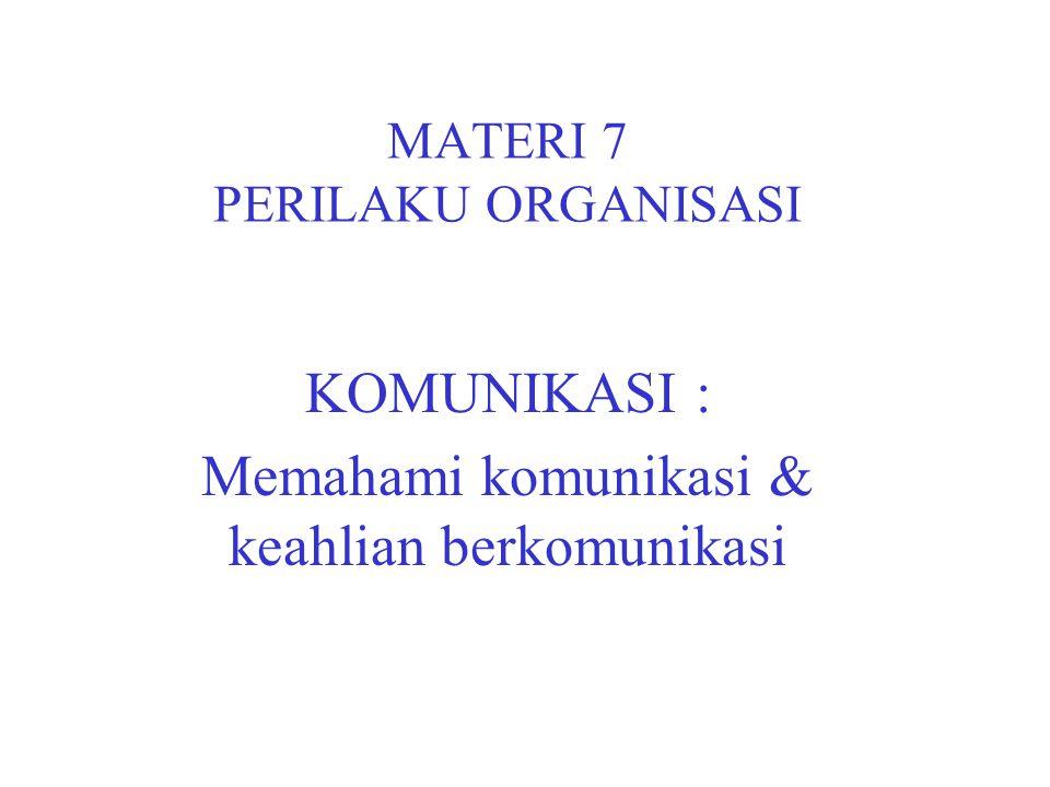 MATERI 7 PERILAKU ORGANISASI KOMUNIKASI : Memahami komunikasi & keahlian berkomunikasi